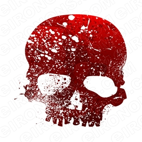SKULL RED T-SHIRT IRON-ON TRANSFER DECAL #S20