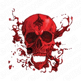 SKULL RED T-SHIRT IRON-ON TRANSFER DECAL #S21