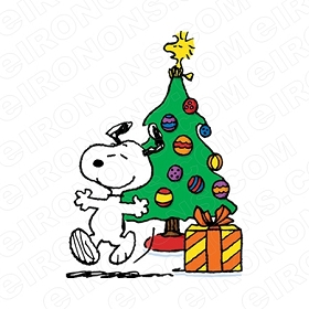 SNOOPY DANCING BY CHRISTMAS TREE HOLIDAY T-SHIRT IRON-ON TRANSFER DECAL #HC26