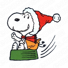 SNOOPY SLIDING ON DOG DISH CHRISTMAS HOLIDAY T-SHIRT IRON-ON TRANSFER DECAL #HC24