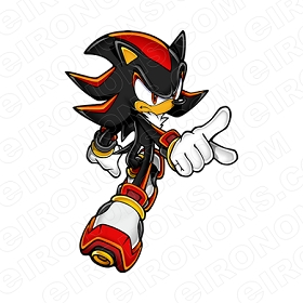 SONIC THE HEDGEHOG SHADOW POINTING VIDEO GAME T-SHIRT IRON-ON TRANSFER DECAL #VSTHH6