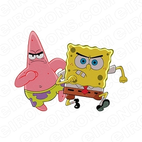 SPONGEBOB SQUAREPANTS AND PATRICK MAD CHARACTER T-SHIRT IRON-ON TRANSFER DECAL #CSBSP2