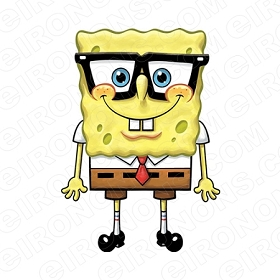 SPONGEBOB SQUAREPANTS WITH GLASSES CHARACTER T-SHIRT IRON-ON TRANSFER DECAL #CSBSP21