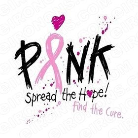 SPREAD THE HOPE FIND THE CURE BREAST CANCER T-SHIRT IRON-ON TRANSFER DECAL #BC6