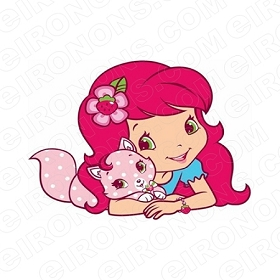 STRAWBERRY SHORTCAKE AND CUSTARD CHARACTER T-SHIRT IRON-ON TRANSFER DECAL #CSBSC2