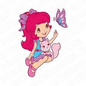 STRAWBERRY SHORTCAKE AND CUSTARD CHARACTER T-SHIRT IRON-ON TRANSFER DECAL #CSBSC3