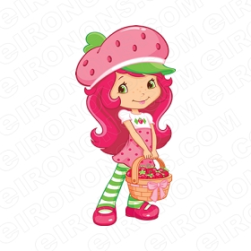 STRAWBERRY SHORTCAKE STANDING WITH BASKET CHARACTER T-SHIRT IRON-ON TRANSFER DECAL #CSBSC22