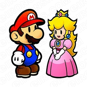 SUPER MARIO AND PRINCESS PEACH VIDEO GAME T-SHIRT IRON-ON TRANSFER DECAL #VGSM7