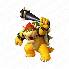 SUPER MARIO BOWSER HOLDING CLUB VIDEO GAME T-SHIRT IRON-ON TRANSFER DECAL #VGSM12