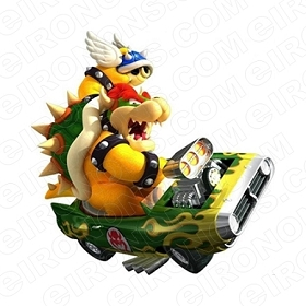 SUPER MARIO BOWSER IN CAR BLUE SHELL VIDEO GAME T-SHIRT IRON-ON TRANSFER DECAL #VGSM13