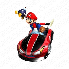 SUPER MARIO CAR BOMB VIDEO GAME T-SHIRT IRON-ON TRANSFER DECAL #VGSM19