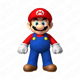 SUPER MARIO FRONT VIEW VIDEO GAME T-SHIRT IRON-ON TRANSFER DECAL #VGSM3