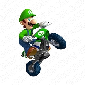 SUPER MARIO LUIGI RIDING BIKE VIDEO GAME T-SHIRT IRON-ON TRANSFER DECAL #VGSM26