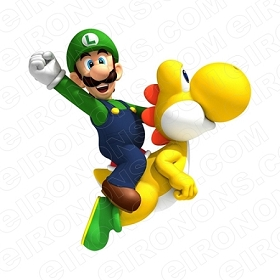 SUPER MARIO LUIGI RIDING YELLOW YOSHI VIDEO GAME T-SHIRT IRON-ON TRANSFER DECAL #VGSM27