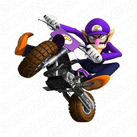 SUPER MARIO WALUIGI RIDING BIKE VIDEO GAME T-SHIRT IRON-ON TRANSFER DECAL #VGSM30