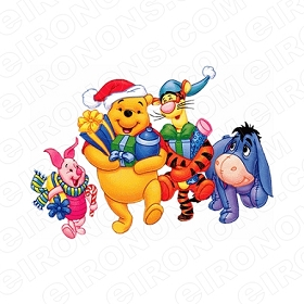 WINNIE THE POOH AND FRIENDS WITH PRESENTS CHRISTMAS HOLIDAY T-SHIRT IRON-ON TRANSFER DECAL #HC28