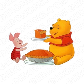 WINNIE THE POOH AND PIGLET EATING PUMPKIN PIE CHARACTER T-SHIRT IRON-ON TRANSFER DECAL #CWTP4