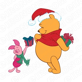 WINNIE THE POOH AND PIGLET WITH CHRISTMAS PRESENTS HOLIDAY T-SHIRT IRON-ON TRANSFER DECAL #HC29