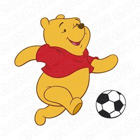 WINNIE THE POOH PLAYING SOCCER CHARACTER T-SHIRT IRON-ON TRANSFER DECAL #CWTP7