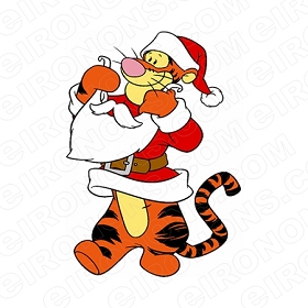 WINNIE THE POOH TIGGER AS SANTA CHRISTMAS HOLIDAY T-SHIRT IRON-ON TRANSFER DECAL #HC32