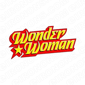 WONDER WOMAN LOGO BLACK, RED AND YELLOW COMIC T-SHIRT IRON-ON TRANSFER DECAL #CWW3