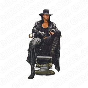 WWE UNDERTAKER SITTING SPORTS WRESTLING T-SHIRT IRON-ON TRANSFER DECAL #SWWEUT2