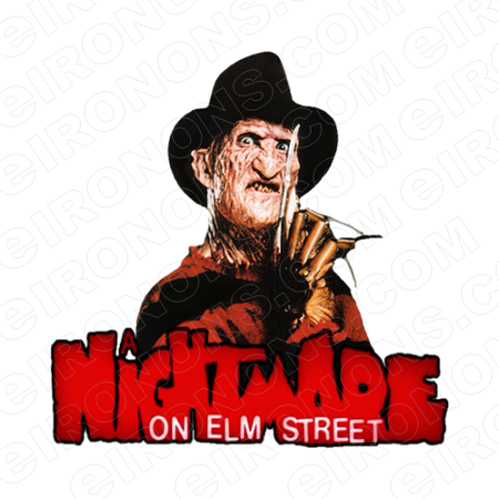 A NIGHTMARE ON ELM STREET FREDDY KRUEGER AND LOGO MOVIE T-SHIRT IRON-ON TRANSFER DECAL #NMOES8