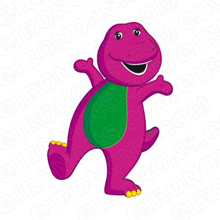 BARNEY LEG UP ARMS OUT CHARACTER T-SHIRT IRON-ON TRANSFER DECAL #CB7