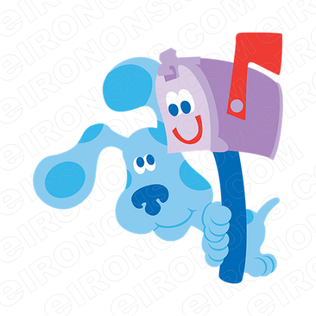 BLUE'S CLUES BLUE AND MAILBOX CHARACTER T-SHIRT IRON-ON TRANSFER DECAL #CBC1
