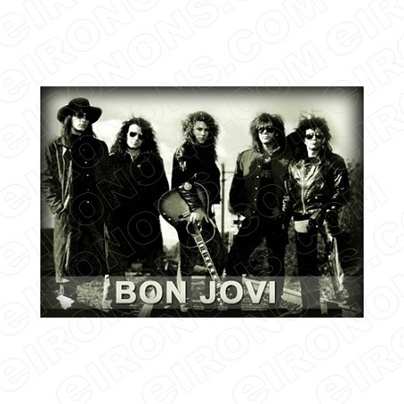BON JOVI GROUP POSE MUSIC T-SHIRT IRON-ON TRANSFER DECAL #MBJ7