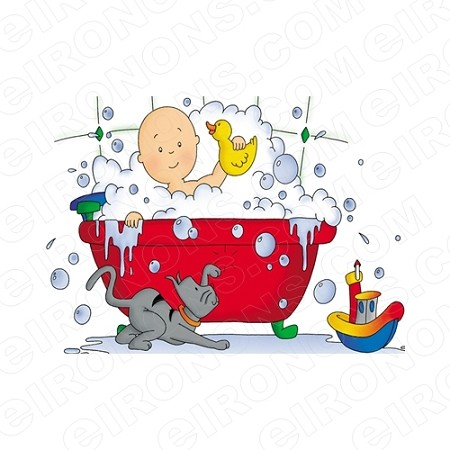 CAILLOU PLAYING IN TUB CHARACTER T-SHIRT IRON-ON TRANSFER DECAL #CC12