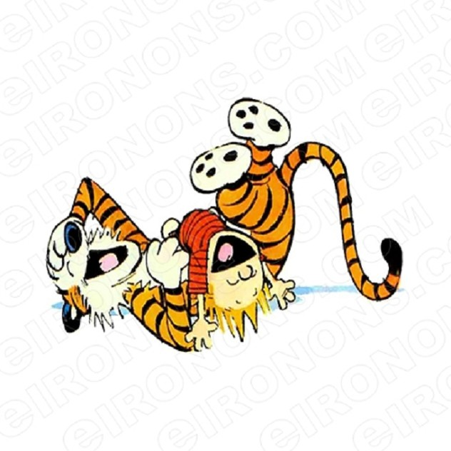 CALVIN AND HOBBES LAUGHING CHARACTER T-SHIRT IRON-ON TRANSFER DECAL #CCAH10