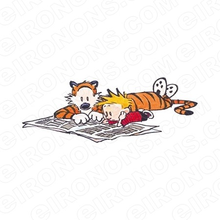 CALVIN AND HOBBES READING COMICS CHARACTER T-SHIRT IRON-ON TRANSFER DECAL #CCAH11
