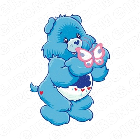 CARE BEARS GRUMPY BEAR BUTTERFLY CHARACTER T-SHIRT IRON-ON TRANSFER DECAL #CCB4
