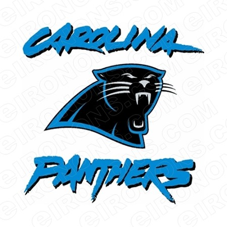 CAROLINA PANTHERS WORDMARK AND LOGO SPORTS NFL FOOTBALL T-SHIRT IRON-ON TRANSFER DECAL #SFCP4