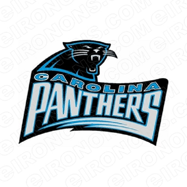 CAROLINA PANTHERS WORDMARK AND LOGO SPORTS NFL FOOTBALL T-SHIRT IRON-ON TRANSFER DECAL #SFCP5