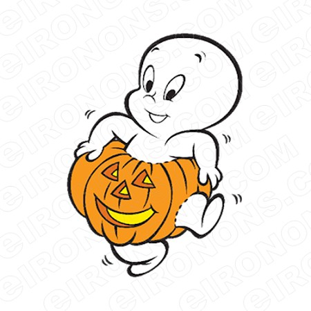 CASPER THE FRIENDLY GHOST IN A PUMPKIN CHARACTER HALLOWEEN T-SHIRT IRON-ON TRANSFER DECAL #CMCTFG3
