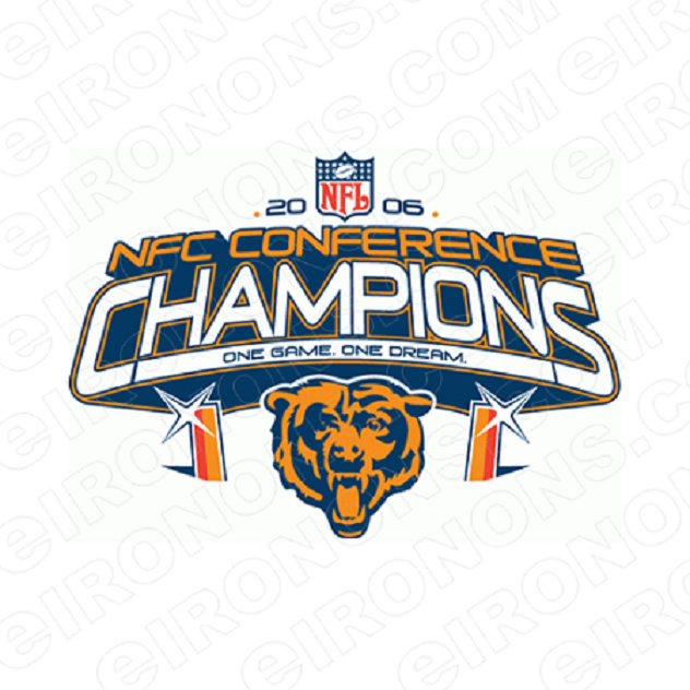 CHICAGO BEARS CHAMPION LOGO 2007 SPORTS NFL FOOTBALL T-SHIRT IRON-ON TRANSFER DECAL #SFBCB5