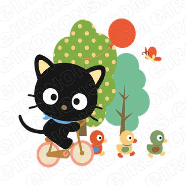 CHOCOCAT RIDING BIKE CHARACTER T-SHIRT IRON-ON TRANSFER DECAL #CCC4