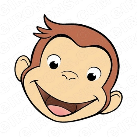 CURIOUS GEORGE BIG HEAD SMILING CHARACTER T-SHIRT IRON-ON TRANSFER DECAL #CCG5