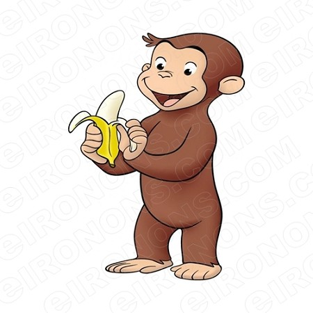CURIOUS GEORGE EATING A BANANA CHARACTER T-SHIRT IRON-ON TRANSFER DECAL #CCG8
