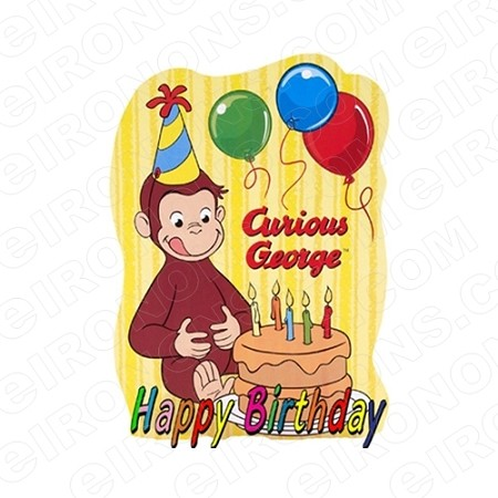 CURIOUS GEORGE HAPPY BIRTHDAY CHARACTER T-SHIRT IRON-ON TRANSFER DECAL #CCG4