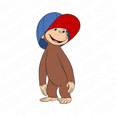 CURIOUS GEORGE HAT ON CHARACTER CLIPART PNG IMAGE SCRAPBOOK INSTANT DOWNLOAD