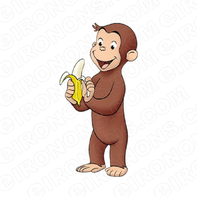 CURIOUS GEORGE HOLDING BANANA CHARACTER CLIPART PNG IMAGE SCRAPBOOK INSTANT DOWNLOAD