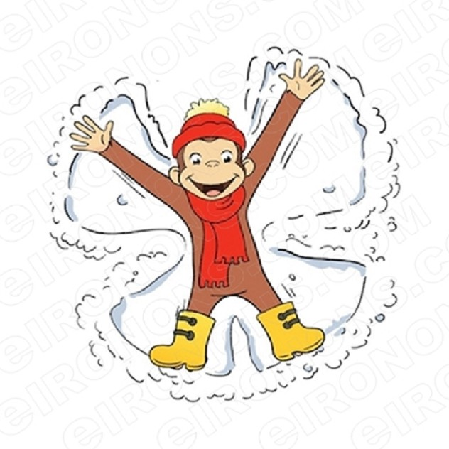 CURIOUS GEORGE SNOW ANGEL CHARACTER T-SHIRT IRON-ON TRANSFER DECAL #CCG7