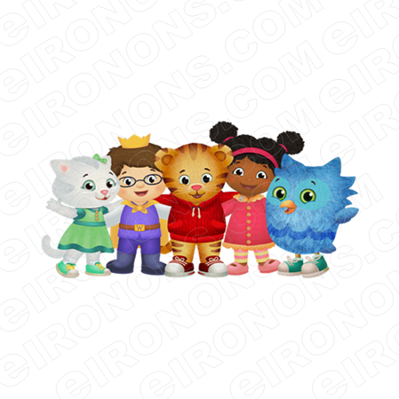 DANIEL TIGERS NEIGHBORHOOD GROUP POSE 4 CHARACTER T-SHIRT IRON-ON TRANSFER DECAL #CDTN6