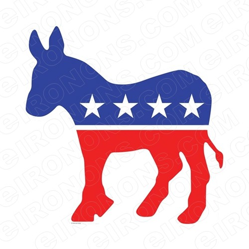 DEMOCRAT DONKEY LOGO POLITICAL T-SHIRT IRON-ON TRANSFER DECAL #PD1