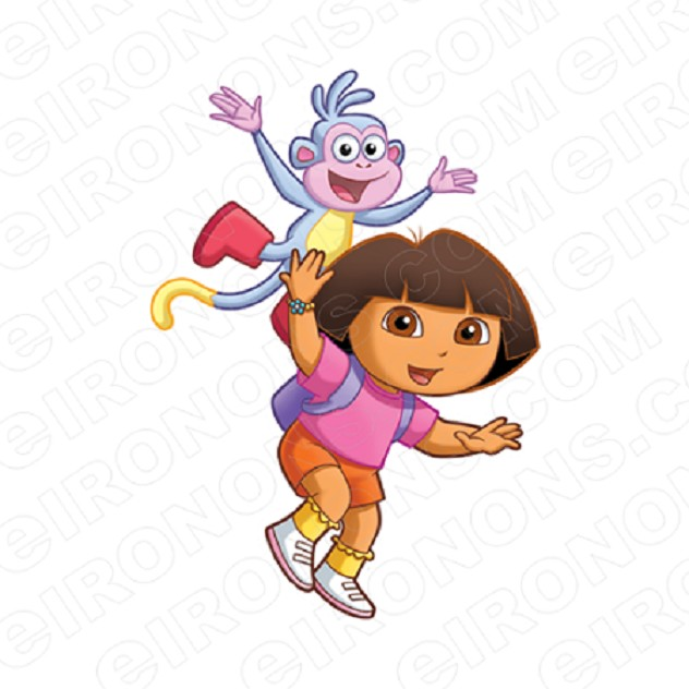 DORA THE EXPLORER AND BOOTS PLAYING CHARACTER T-SHIRT IRON-ON TRANSFER DECAL #CDTE12