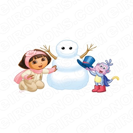 DORA THE EXPLORER MAKING A SNOWMAN WITH BOOTS CHARACTER T-SHIRT IRON-ON TRANSFER DECAL #CDTE11