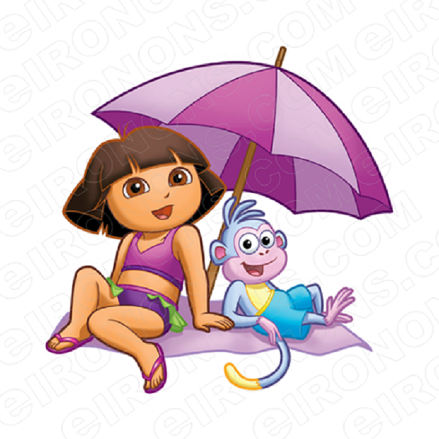 DORA THE EXPLORER SITTING NEXT TO BOOTS CHARACTER T-SHIRT IRON-ON TRANSFER DECAL #CDTE6